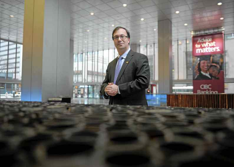 Tax expert, Jamie Golombek, Managing Director, Tax and Estate planning, at CIBC Private Wealth Management is photographed on Feb 14 2011 in the lobby of bank's headquarters at 199 Bay St.. (Fred Lum/The Globe and Mail)