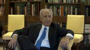 Israel's president Shimon Peres at his office in the Presidential Residence in Jerusalem, Israel.