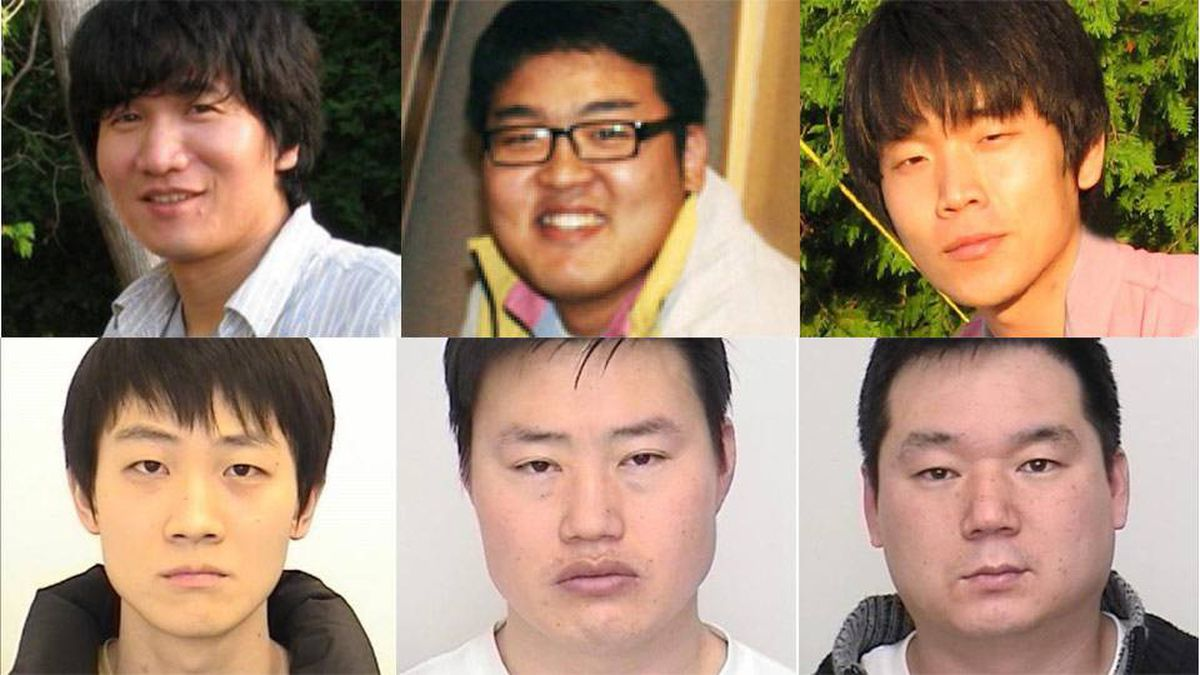 Three men have been arrested (bottom row, from left: Hyung Jun Ha, Jong Il Lee, Sang Cheol Lee) in a string of gang sexual assaults against four women in the GTA. Canada-wide warrants have been issued for there more, top row from left: Jin Hyun Kim, 33, Yoon Hyun Cho, Jung Jay Lee