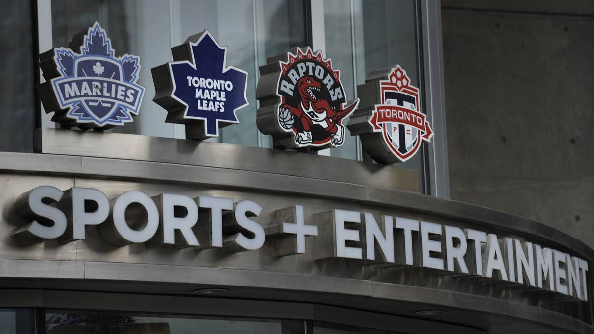 Exteriors of Air Canada Centre and the entrance to Maple Leaf Sports and Entertainment which is located there.