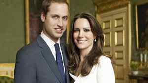 Britain's Prince William and Kate Middleton pose in an official engagement portrait taken by Mario Testino iat St James's Palace in London on Nov. 25, 2010.