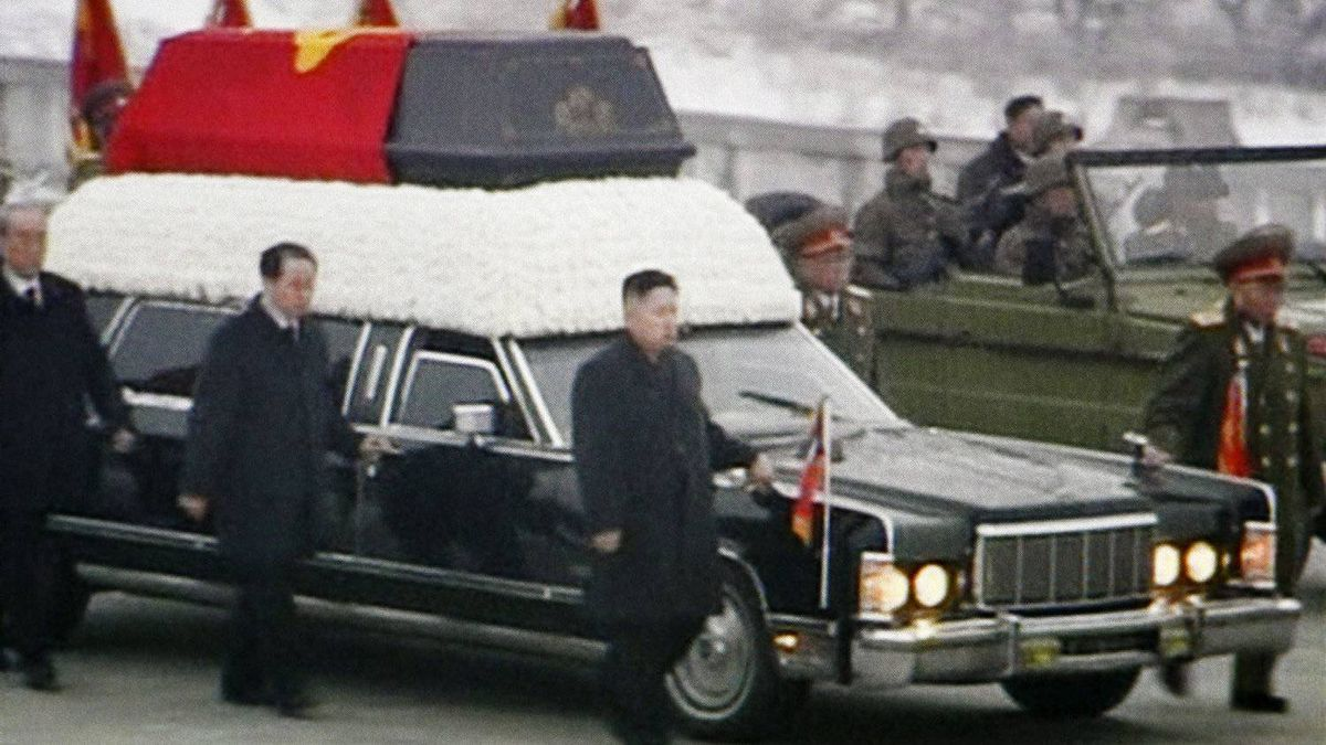 In this image made from KRT video, Kim Jong Un, front right, Kim Jong Il's youngest son and successor, walks next to his father's hearse during a funeral procession for the late North Korean leader in Pyongyang, North Korea Wednesday, Dec. 28, 2011.