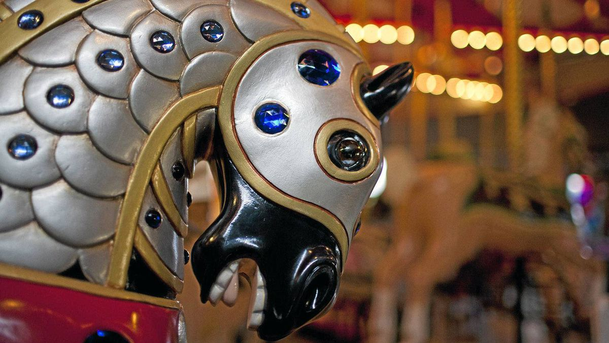 """Carousel horse No. 10 named """"Valiant"""" and sponsored by Paula Tanchyk, who notes: """"He looked like a battle-horse, full of courage, so I thought the name Valiant suited him."""""""