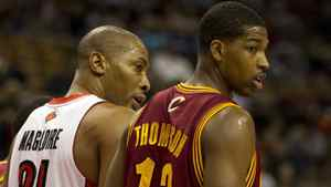 Toronto Raptors centre Jamaal Magloire lines up against Brampton, Ont., native Tristan Thompson, who is in his rookie campaign with the Cleveland Cavaliers.