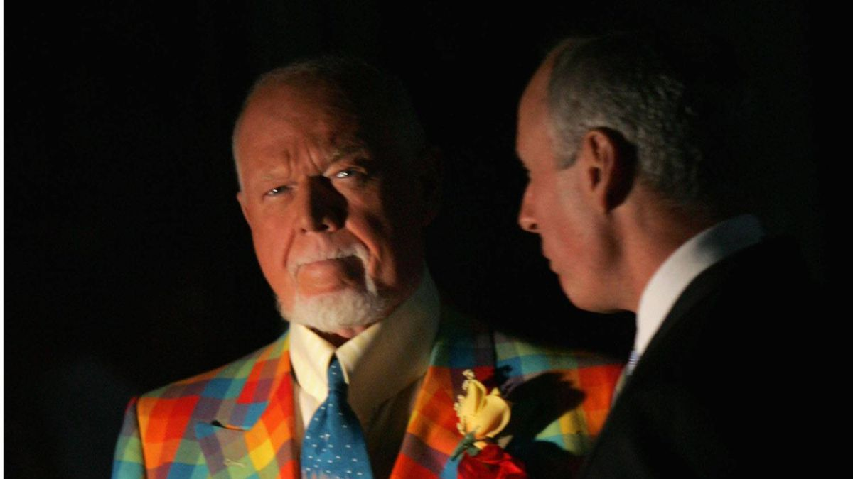 Don Cherry and Ron MacLean of CBC Sports stand on the ice before game three of the 2008 NHL Stanley Cup Finals between the Detroit Red Wings and the Pittsburgh Penguins at Mellon Arena on May 28, 2008 in Pittsburgh. Pennsylvania. The Penguins defeated the Red Wings 3-2 to set the series at 2-1 Red Wings