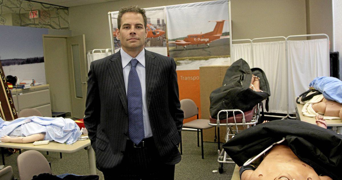 Dr. Chris Mazza, former CEO of Ornge, a company that provides emergency helicopter service in Ontario, at the training room of the company's headquarters in Toronto on Oct. 27, 2008.