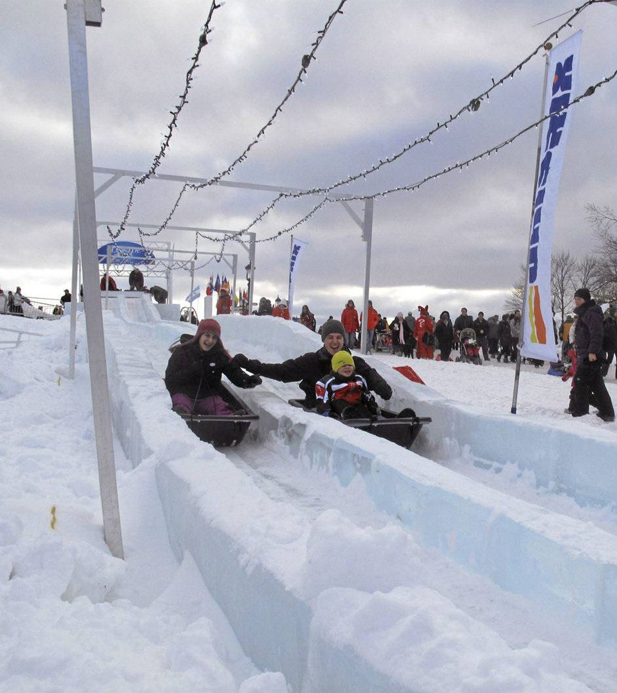 Take a ride down the spine-thumping ice slide at Carnaval.