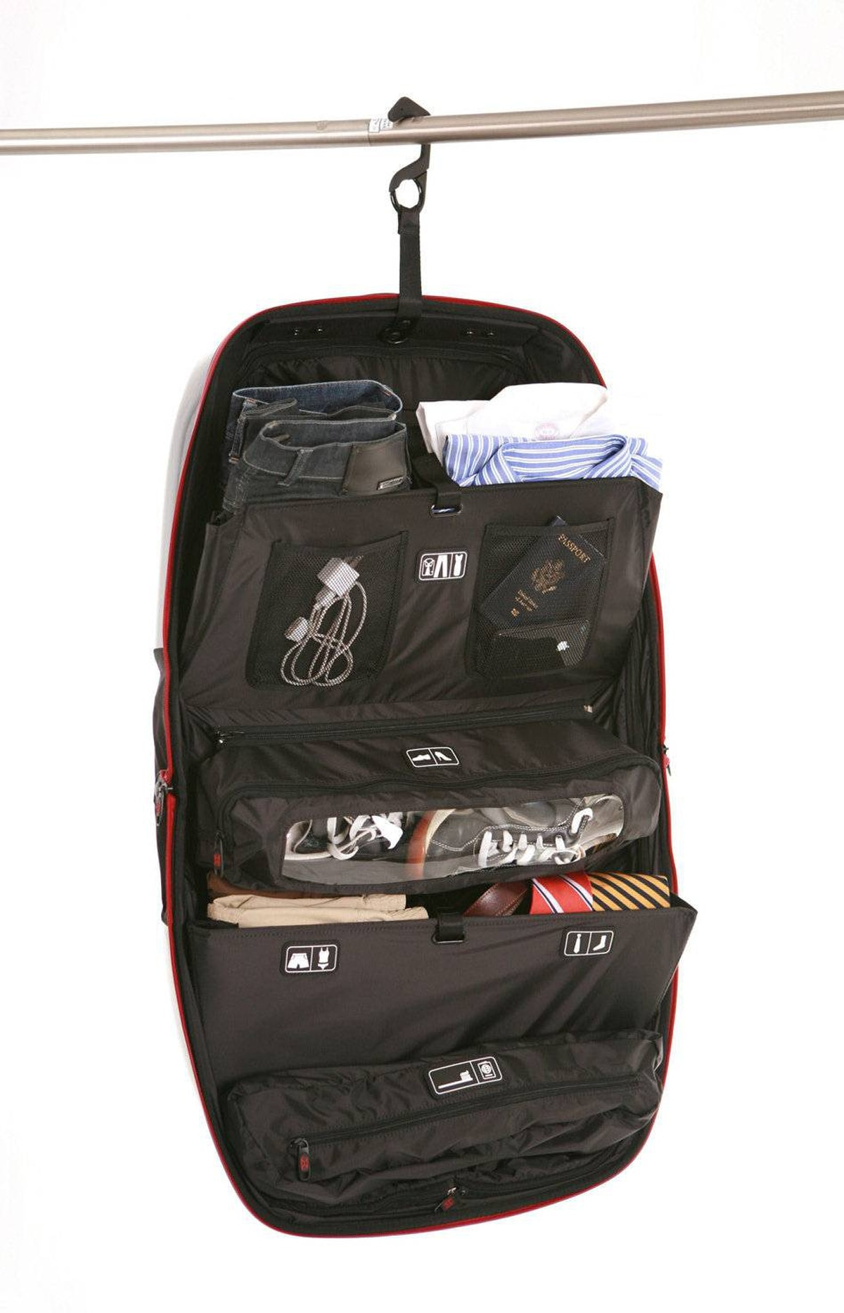 CLOSET ON THE MOVE Built for travellers who don't like to unpack, MOVE is a rolling carry-on case-cum-mobile closet. Stash your stuff in the cantilevered shelves and pockets. Once at your destination, Simply open the bag and hang it on the nearest hook. $450 (all prices U.S.)