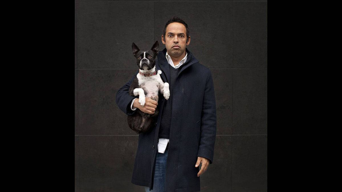 Comedian Shaun Majumder and his four-year-old Boston terrier, Jazzy, at the Soho Metropolitan Hotel in Toronto on March 31. Hotels are a common location for us to photograph celebrities. The problem is that hotel rooms pretty much all look the same. Luckily when I arrived to photograph Majumder he brought along his dog. Majumder ran through a series of facial expressions as I shot but was unaware that both he and Jazzy were striking a similar pose.