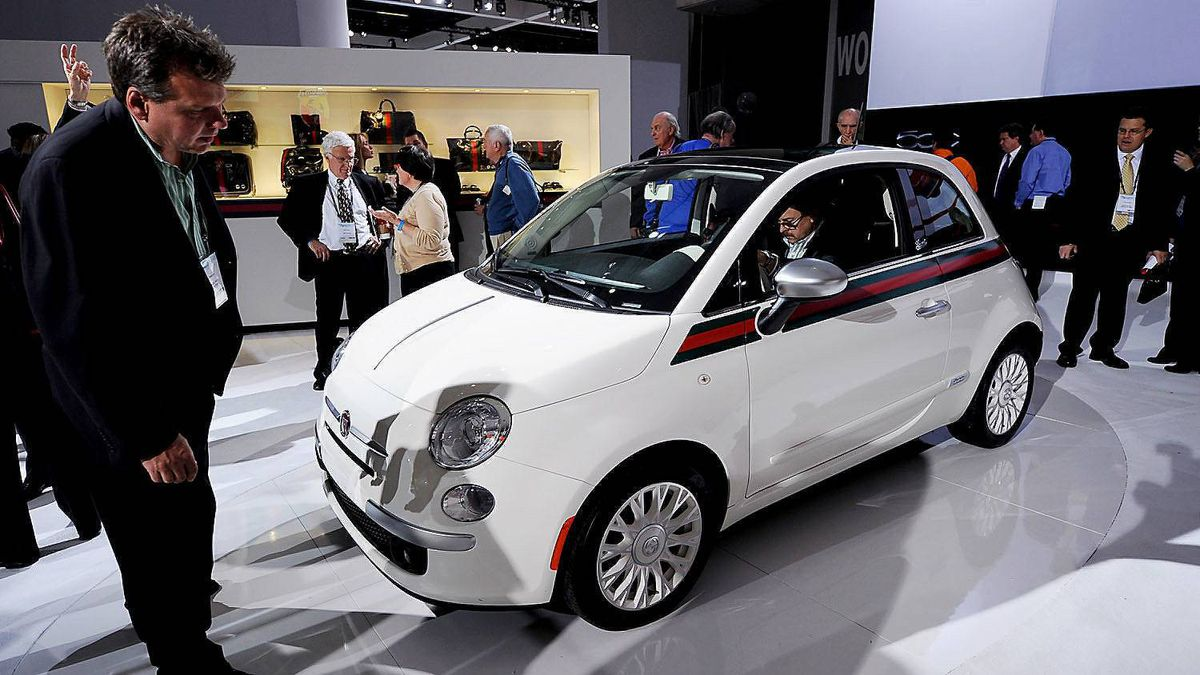 The new Fiat 500 Gucci car is displayed during the LA Auto Show