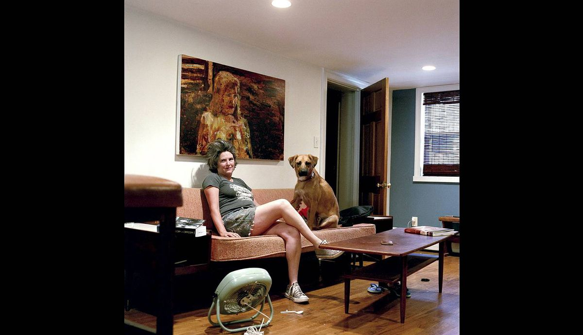 Angela Dufresne with Larry the dog in Brooklyn, New York.