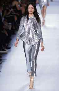 The sequined jacket, on the runway