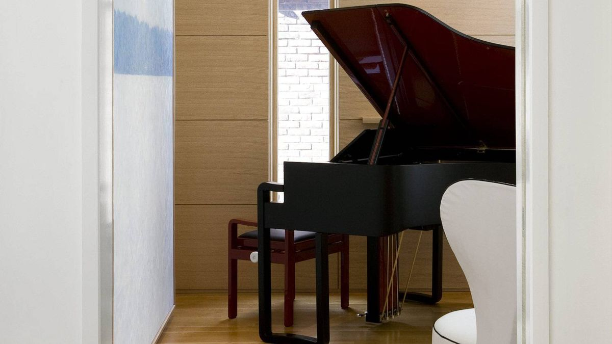 The grand piano at the Rosedale, Toronto home re-designed by Bill Mockler of Drawing Room Architect. 'We knew that the house was about art and objects,' says Mr. Mockler.
