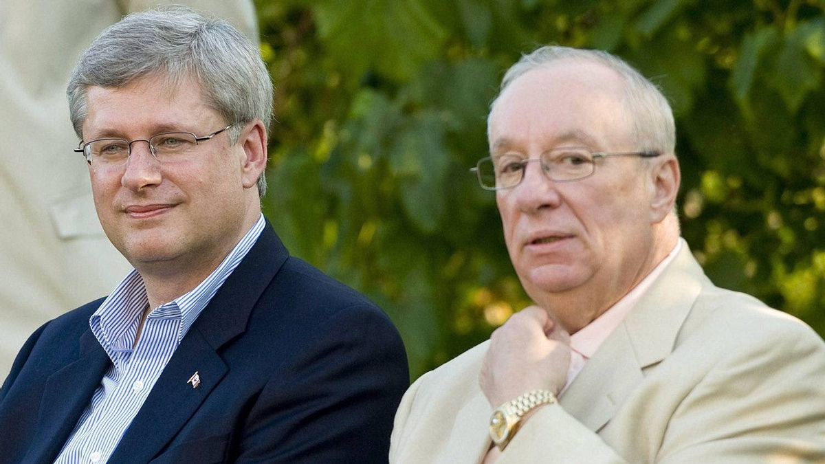 Prime Minister Stephen Harper joins Senator Jacques Demers at a Conservative rally in Montreal on Sept. 1, 2010.