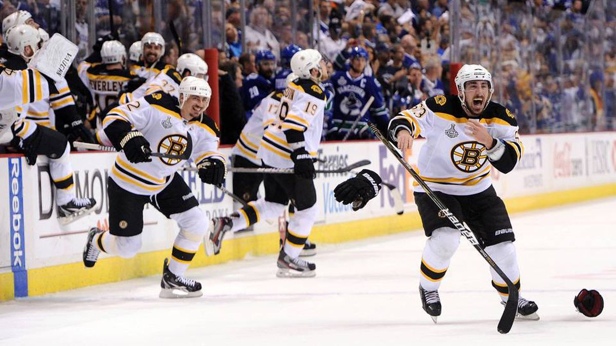 Brad Marchand of the Boston Bruins celebrates after defeating the Vancouver Canucks in Game 7.