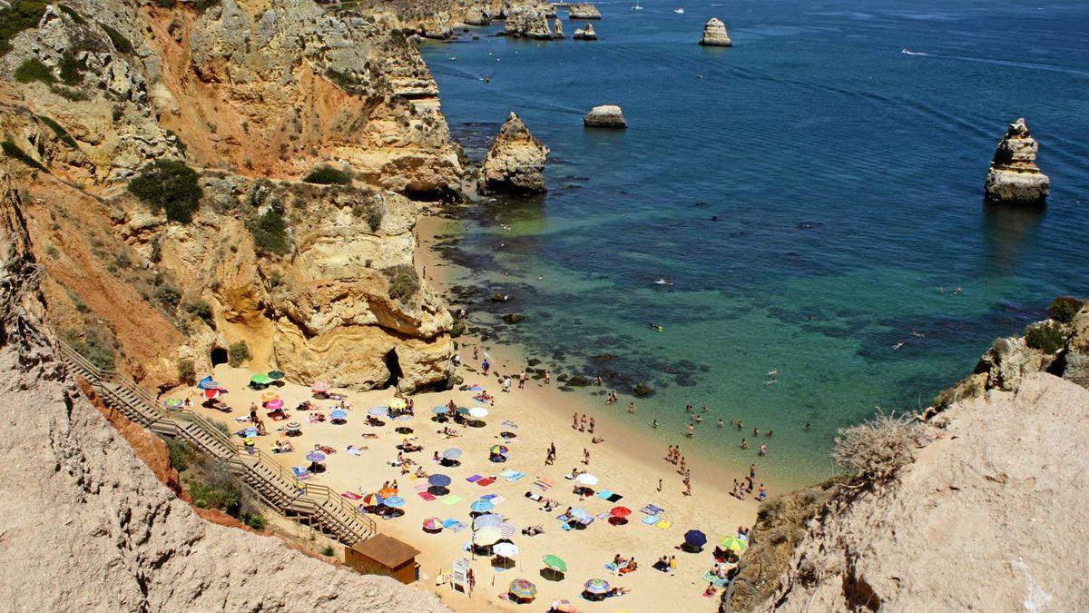 Camilo beach, one of several along the coast in Lagos, Portugal.