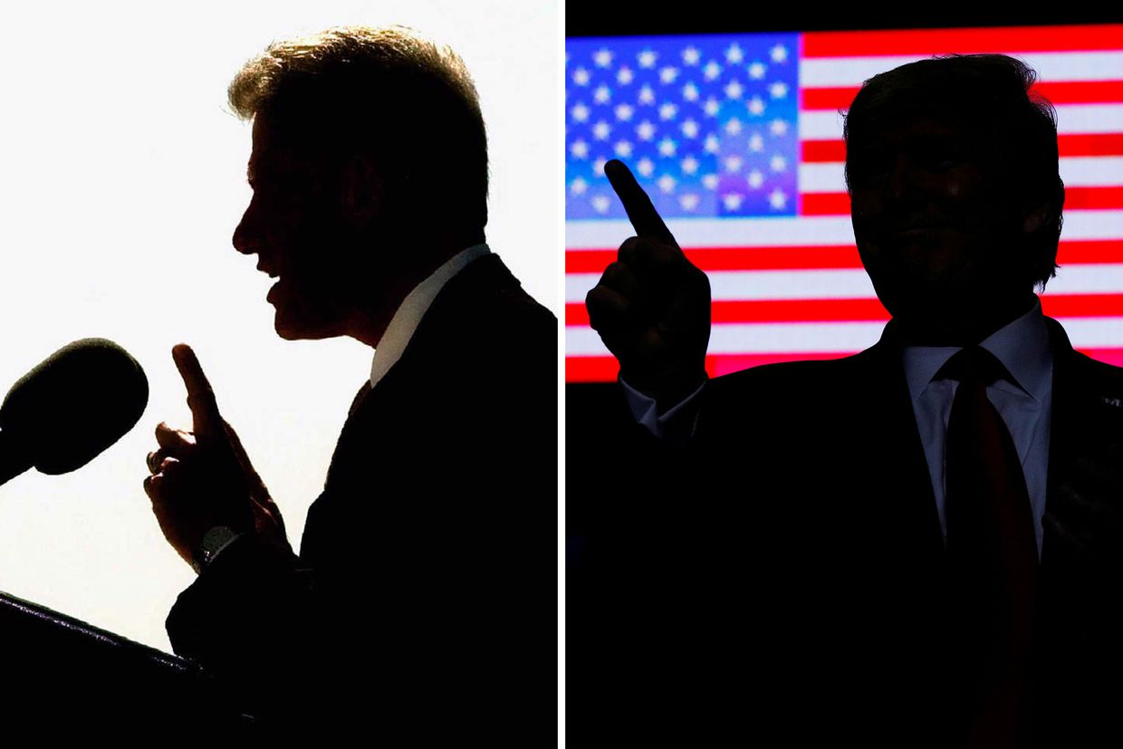 Bill Clinton and Donald Trump, shown in 1998 and 2019.