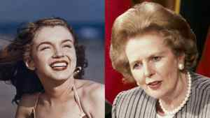 Composite photo of Marilyn Monroe in 1946, left, and Margaret Thatcher in 1988.