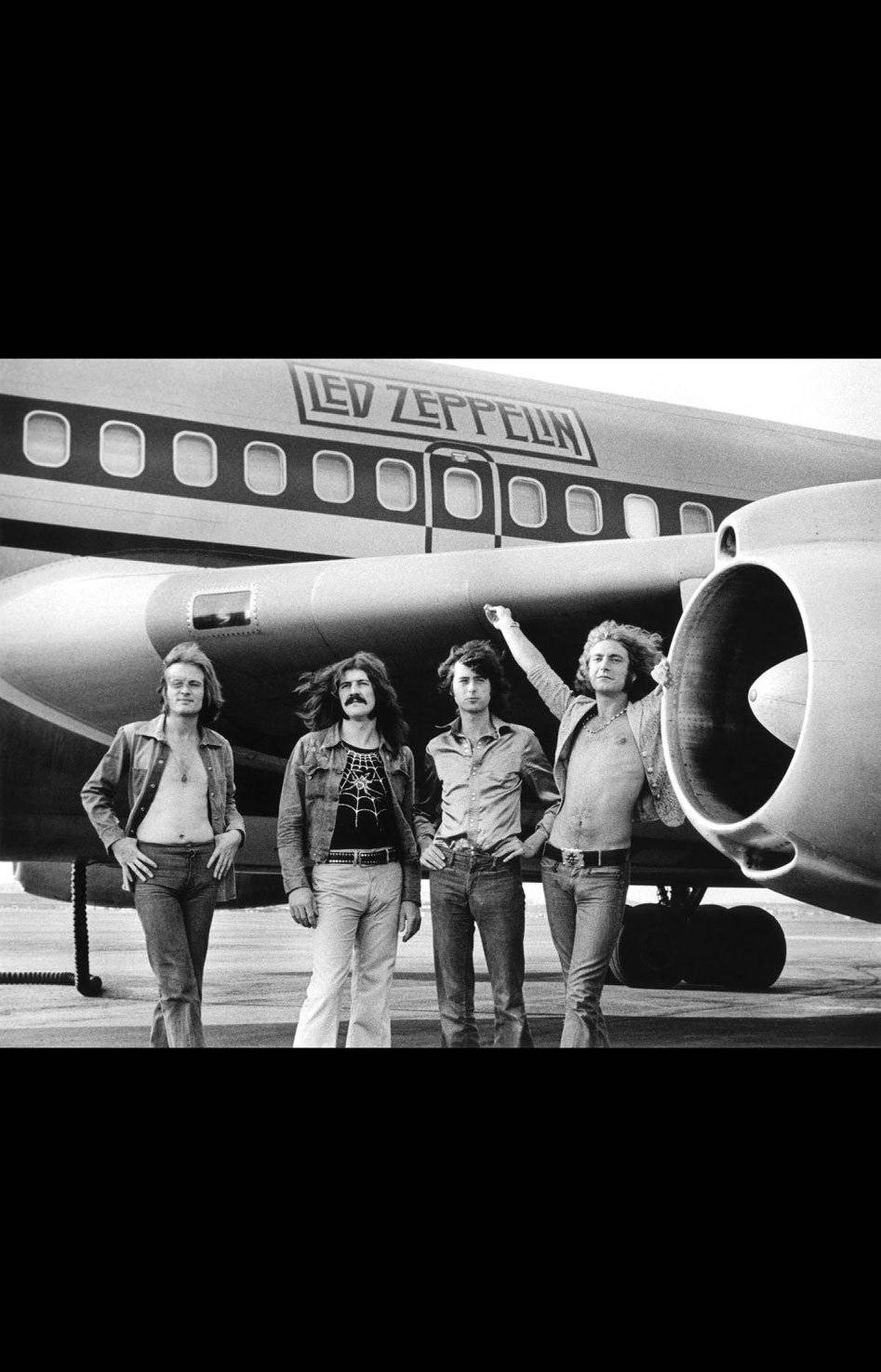 Led Zeppelin – In Front of Plane (1973) It was a 727, a really big plane. When we got to the airport, Robert [Plant] asked if I could take a picture of them in front of their plane. I only took about a half-dozen shots. I mean, it didn't seem like such a big deal, it was just a band with their plane – even though it was a really nice plane. But it's become one of the most iconic images, most well-known images of Led Zeppelin. There's just something about the excess of the 1970s that you really see: a bunch of bare-chested guys proud of their giant airplane.