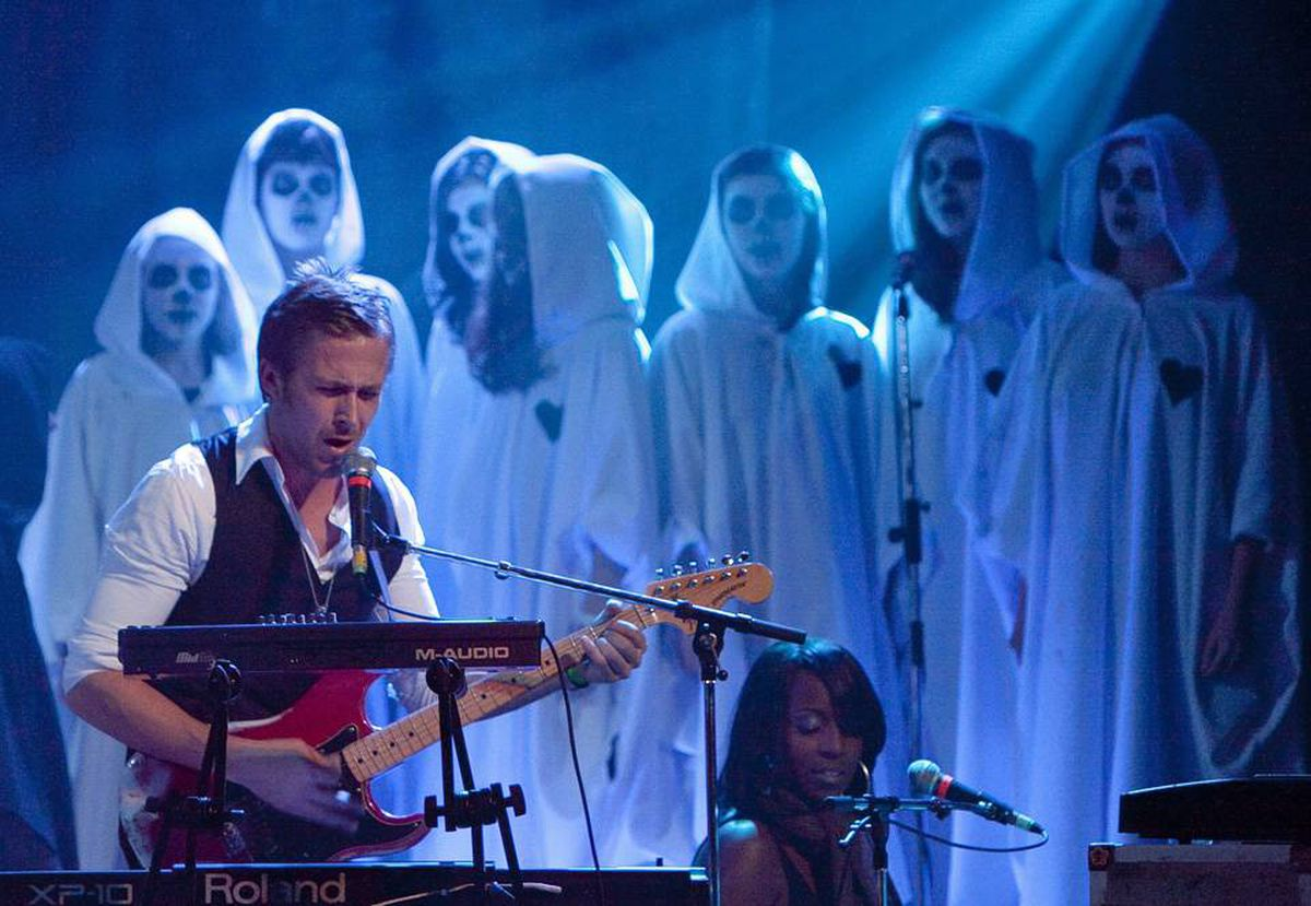Ryan Gosling of Dead Man's Bones performs with a choir from Etobicoke School of the Arts in Toronto. The band plays Vancouver October 24.