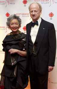 Former governor general of Canada Adrienne Clarkson and her husband, the writer John Ralston Saul, arrive at the Gillers.