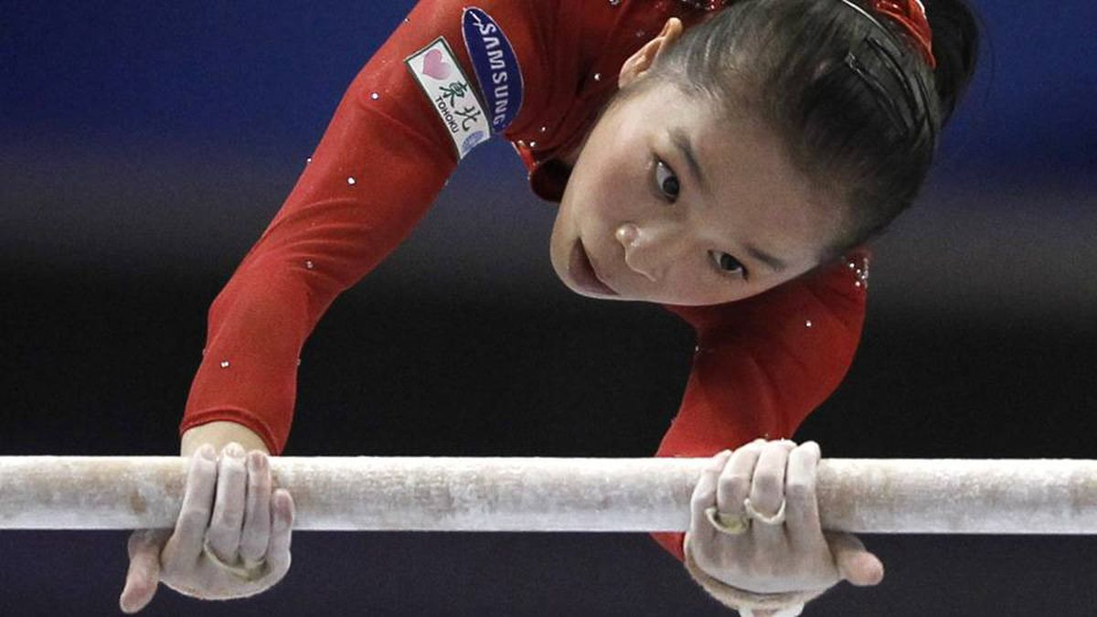 China's Yao Jinnan competes on the uneven bars during the women's individual all-around final at the Artistic Gymnastics World Championships in Tokyo.