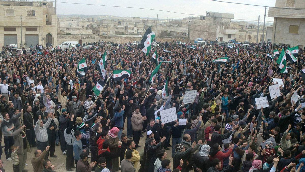 Demonstrators take part in a protest against Syria's President Bashar al-Assad after Friday prayers in Marat al-Numan near the northern province of Idlib February 3, 2012. Picture taken February 3, 2012.