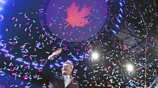 Prime Minister Stephen Harper on stage after speaking in Calgary May 2, 2011 after Canadians went to the polls in the federal election.