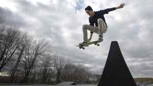 Dominik Gmeiner, 20, gets some air as the mild weather at the Ashbridges Bay skate board park in Toronto, Ont.