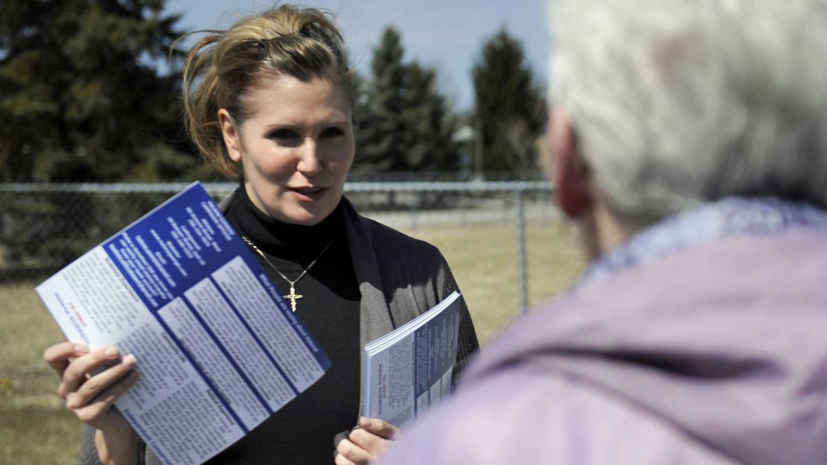 Expelled from the Tory caucus, Helena Guergis campaigns as an independent in her Ontario riding of Simcoe-Grey on April 7 2011.