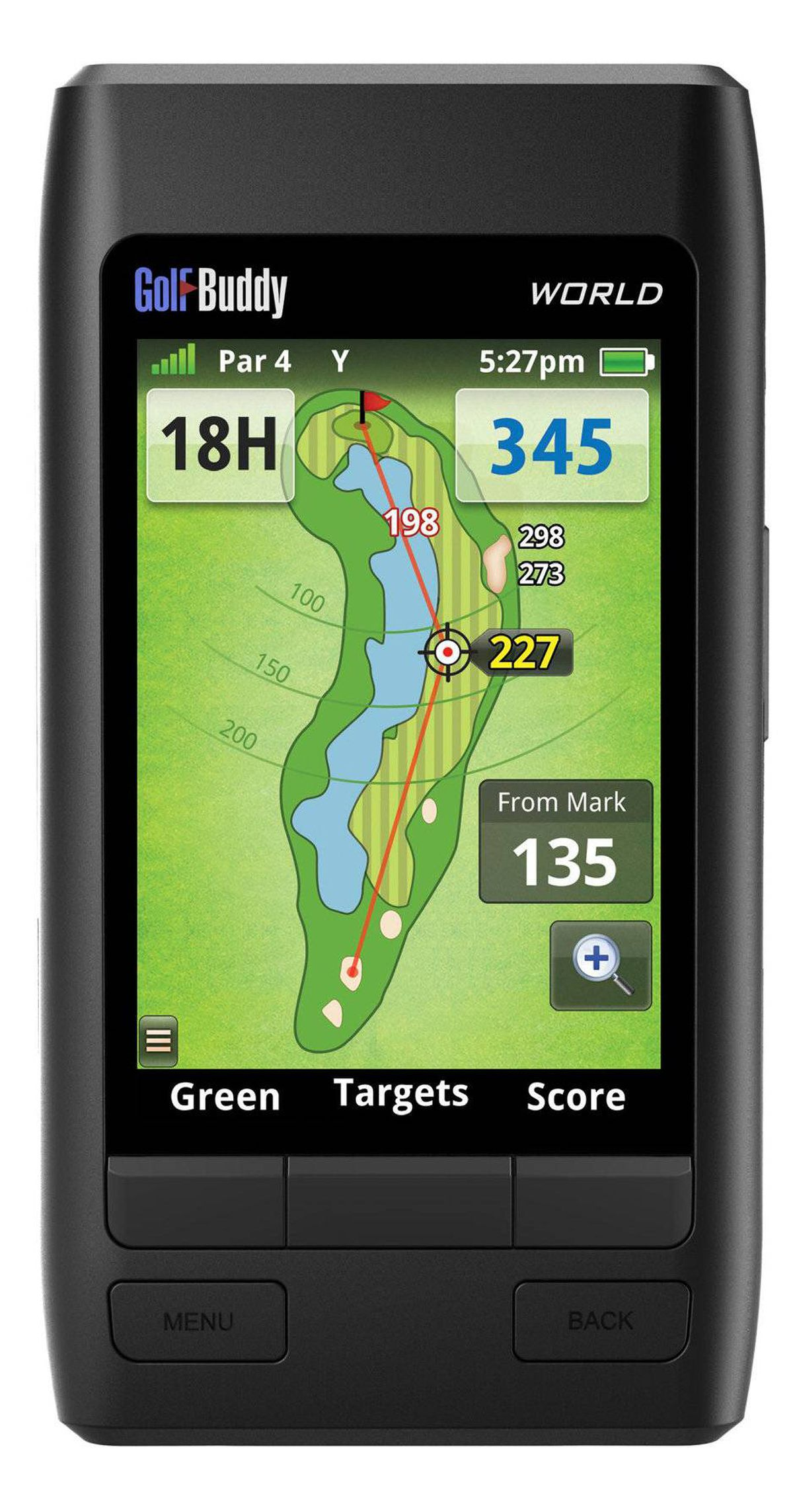 Play it Built for gadget-loving golfers who will do anything to get a leg up on the competition, GolfBuddy's World GPS Range finder is the ultimate digital golf caddy. With its 40,000-course worldwide library and an automatic course and hole recognition feature, it follows you from hole to hole, mapping out distance to greens and bunkers. It also warns of hazards and lakes, but stops short of giving tips on how to improve your swing. golfbuddyglobal.com, $349.99 (U.S.)
