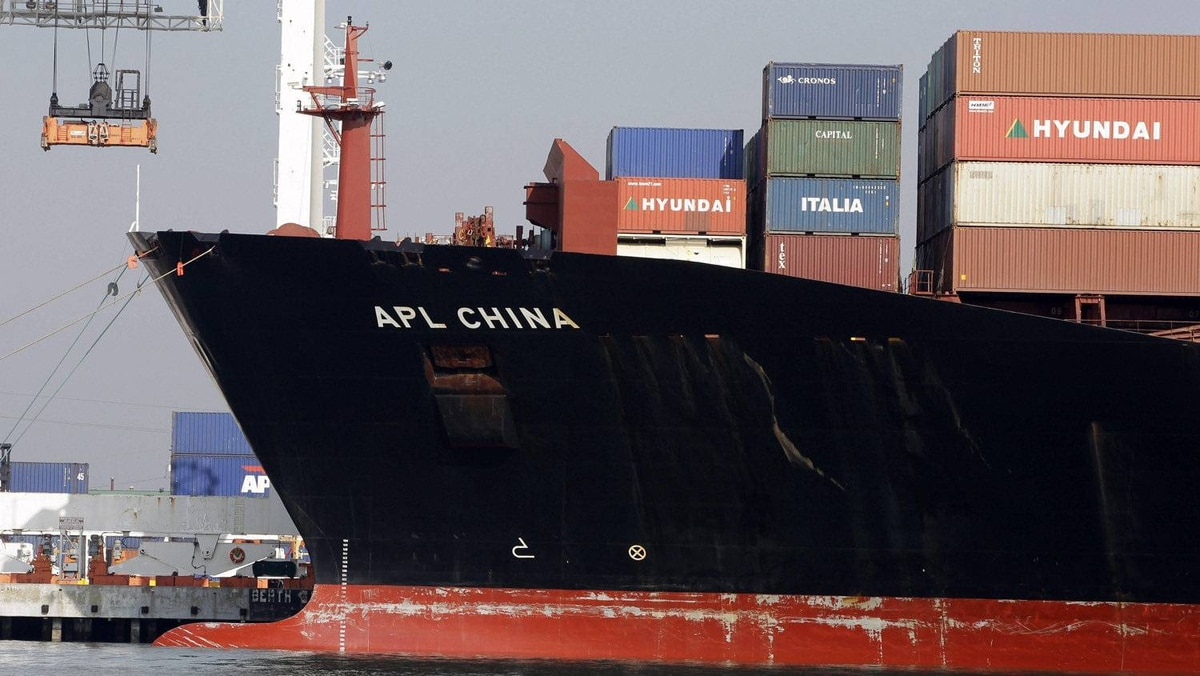 In this Dec. 8, 2011 photo, a container ship is docked at the Port of Oakland in Oakland, Calif.