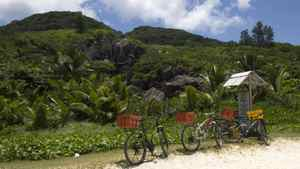 Bycicles on Grand Anse beach in Grenada.