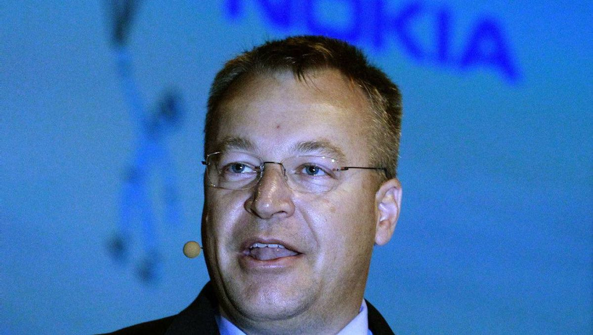 Nokia CEO Stephen Elop speaks during an award presentation at the close of the Nokia World 2010 conference at the ExCeL Centre in London, September 15, 2010.