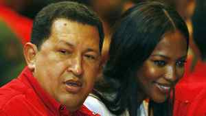British supermodel Naomi Campbell arrives at an event with Venezuelan President Hugo Chavez in Caracas.