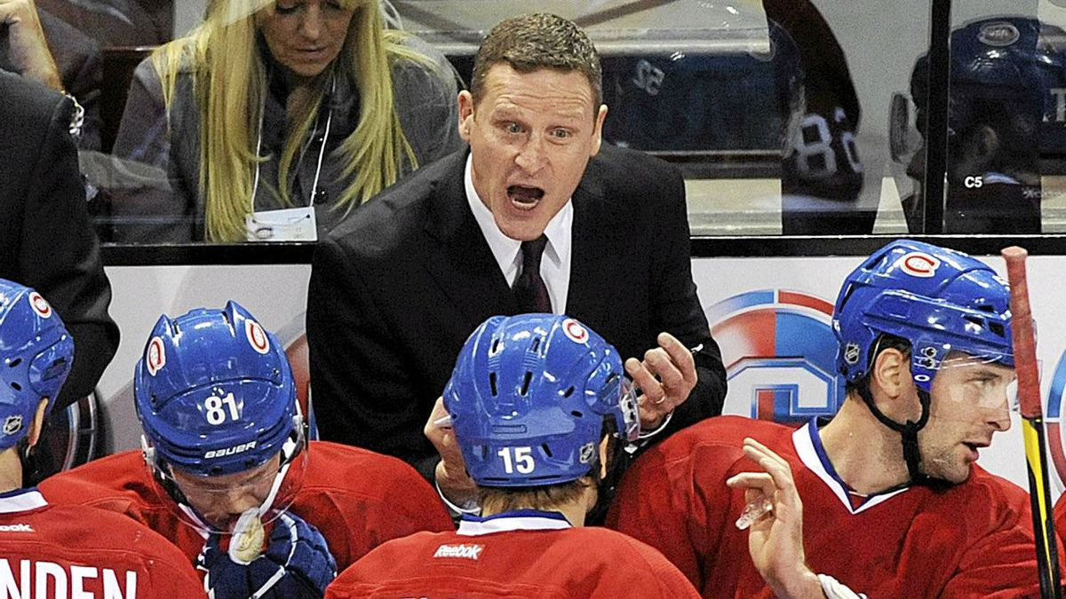 Montreal Canadiens interim head coach Randy Cunneyworth talks with players during first period of an NHL hockey game against the New Jersey Devils in Montreal on Saturday, December 17, 2011.