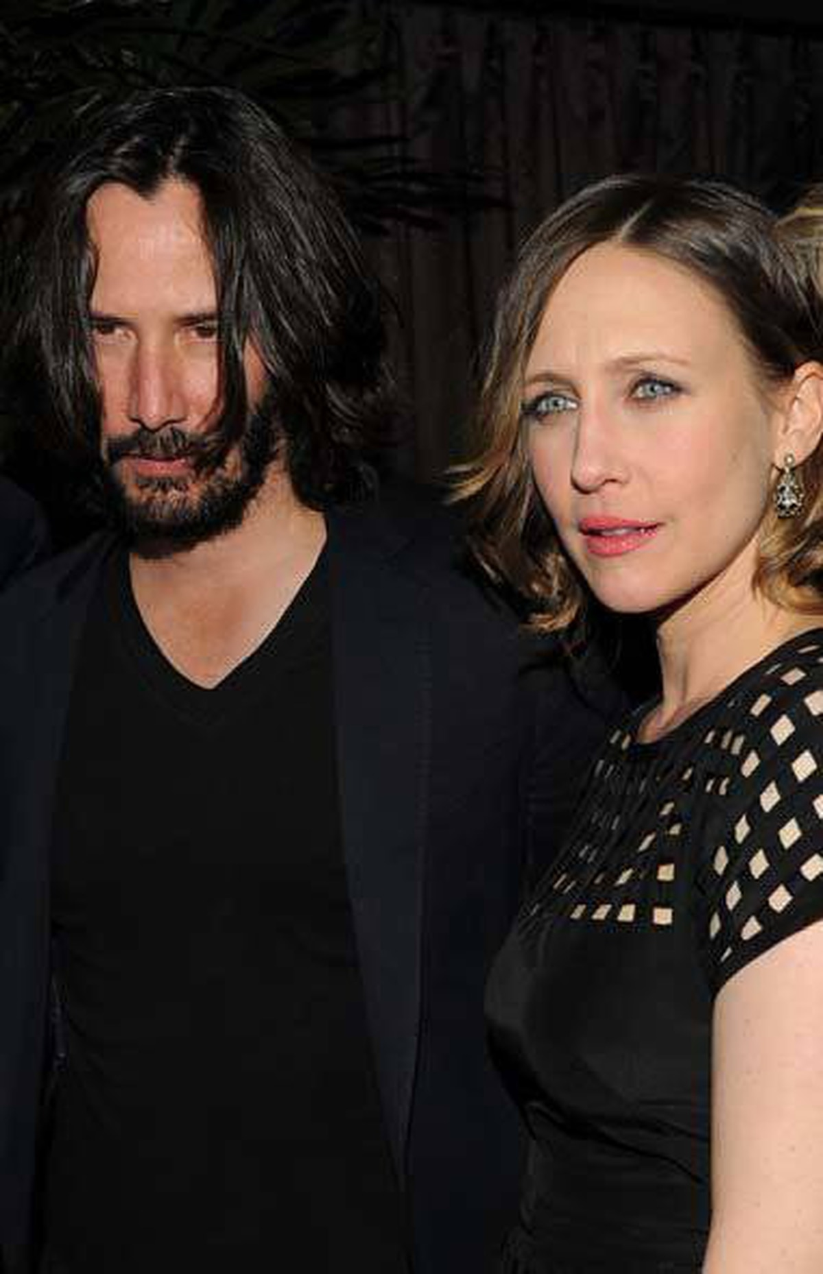 """Canadian method actor Keanu Reeves and actress Vera Farmiga at the """"Henry's Crime"""" after-party in New York on Monday."""