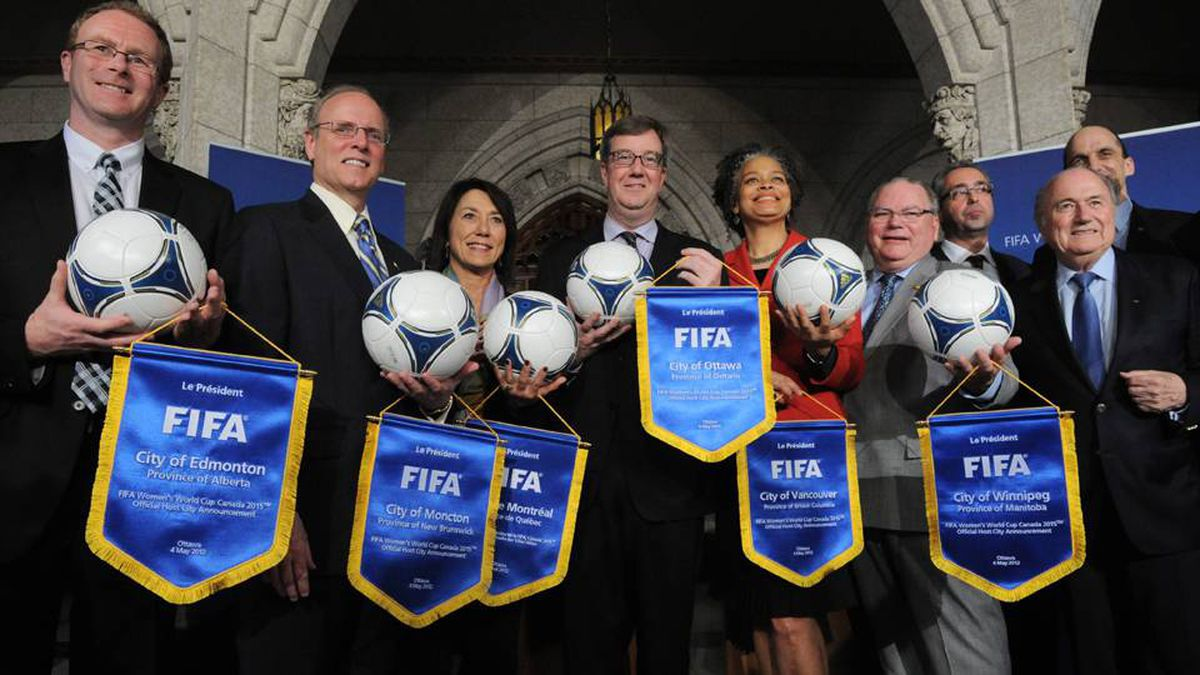 City representatives help FIFA and the Canadian Soccer Association announce the host cities for the 2015 FIFA Women's World Cup on Parliament Hill in Ottawa on Friday.