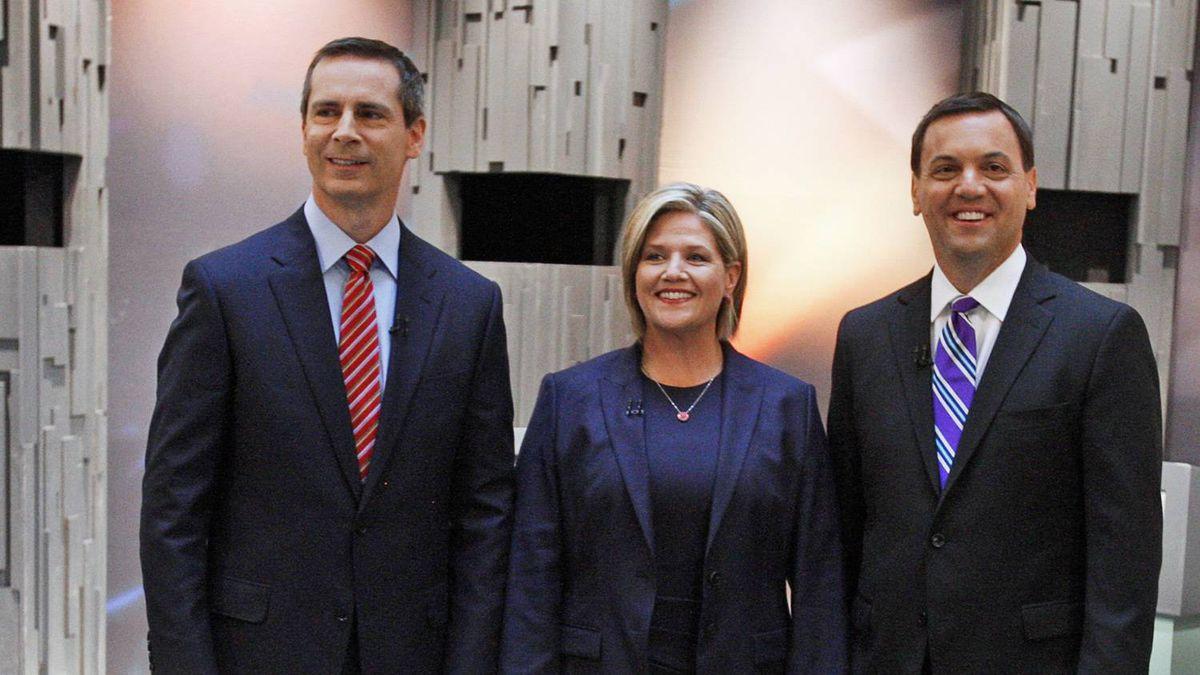Ontario Liberal Leader Dalton McGuinty, left, NDP Leader Andrea Horwath, centre, and Progressive Conservative Leader Tim Hudak.
