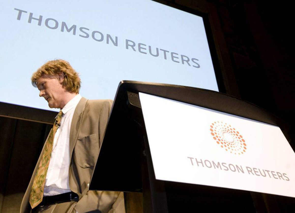 Chairman of Thomson Reuters David Thomson prepares to speak at the company's annual general meeting in Toronto on Friday.