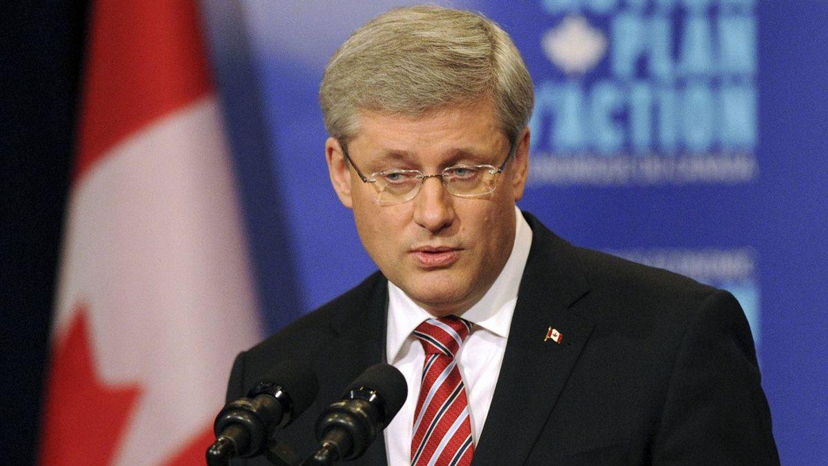 Prime Minister Stephen Harper speaks during a visit to the Performing Arts Centre in Burlington, Ont., on Dec. 2.