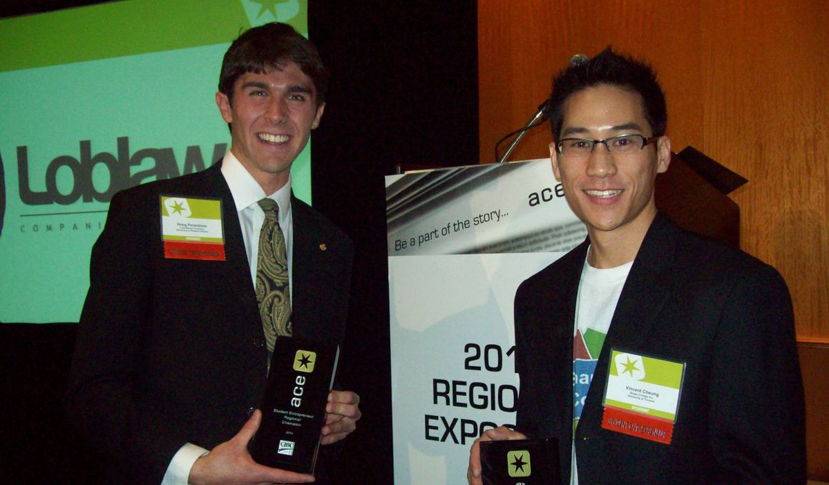 """In this photo, ACE's regional champion Greig Perantinos smiles for a victory photo with national champion Vincent Cheung in March 2010. Competitions like Advancing Canadian Entrepreneurship (ACE) are less about securing venture capital than they are about showcasing student achievements. And when it comes to competition, it's less fierce than you may expect. """"Greig is a good friend,"""" says Mr. Cheung. """"We've gone through similar struggles so we want to see each other succeed."""""""