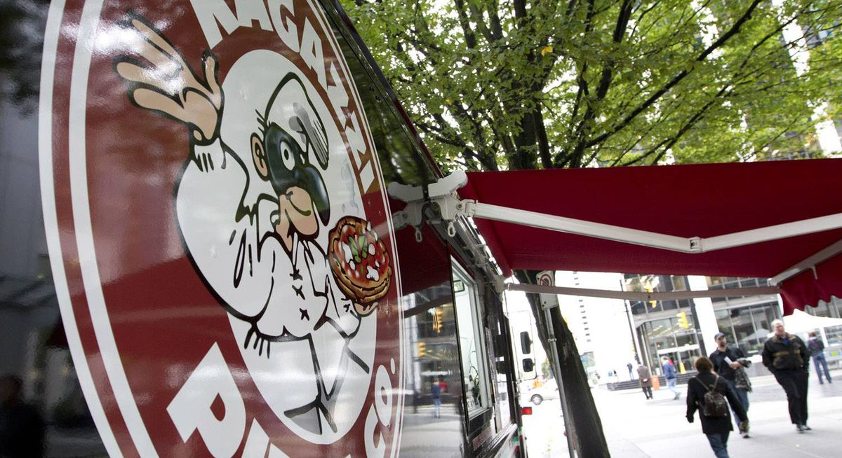 Ragazzi Pizza's street cart in Vancouver September 24, 2010. West side of 400 Burrard Street @ Pender