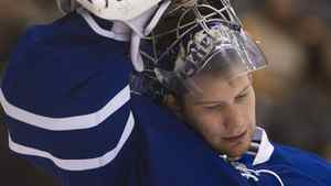 Toronto Maple Leafs goalie James Reimer looks down after allowing two goals early in first period NHL hockey action against the Washington Capitals during in Toronto on Saturday, Feb. 25, 2012. THE CANADIAN PRESS/Nathan Denette