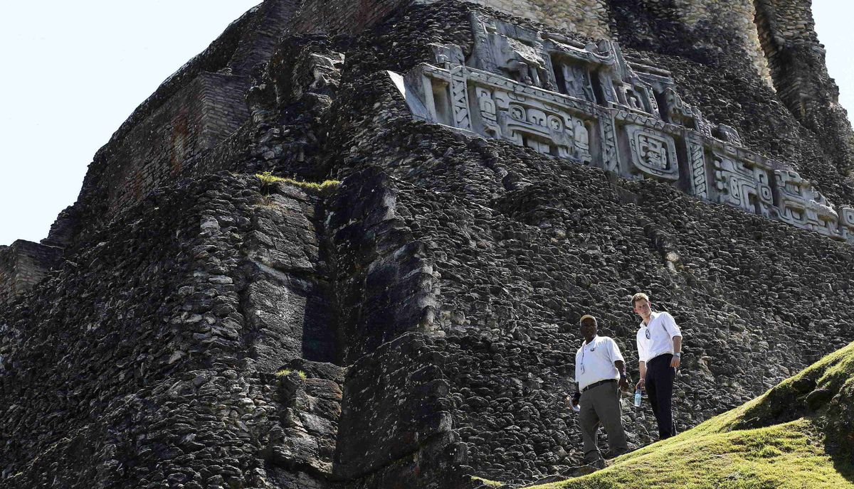 Prince Harry visits the Xunantunich Mayan temple in Belize on March 3, 2012.