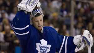 Toronto Maple Leafs goaltender Justin Pogge reacts after letting in a goal to the Boston Bruins in Toronto on March 28.
