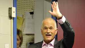 NDP Leader Jack Layton greets supporters at a campaign stop in Welland, Ont., on April 19, 2011.