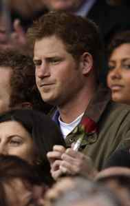 SPORTS FAN Britain's Prince Harry attends the Six Nations rugby union match between England and Ireland at Twickenham Stadium in London, March 17, 2012.