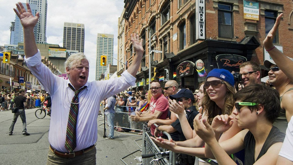 Former Toronto Mayor David Miller took part in the parade again this year. He also marched during his tenure as mayor.