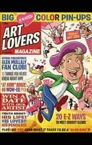 """A cover for the fictional """"Art Lovers Magazine"""" designed by Mullaly features """"20 E-Z ways to meet Groovy Glen."""""""